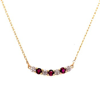 10 Karat Yellow Gold Ruby and Diamond Alternating Bar Necklace