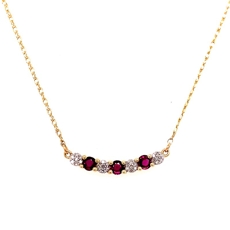 Corinth Collections  10 Karat Yellow Gold Ruby and Diamond Alternating Bar Necklace