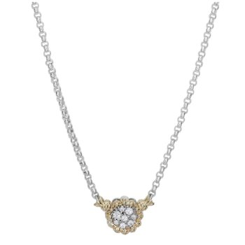 14 Karat Yellow Gold and Sterling Silver Round Cut Diamond with Scalloped Edges Vahan Necklace