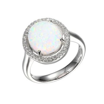 Sterling Silver Synthetic Oval Opal with CZ Halo and Polished Shank