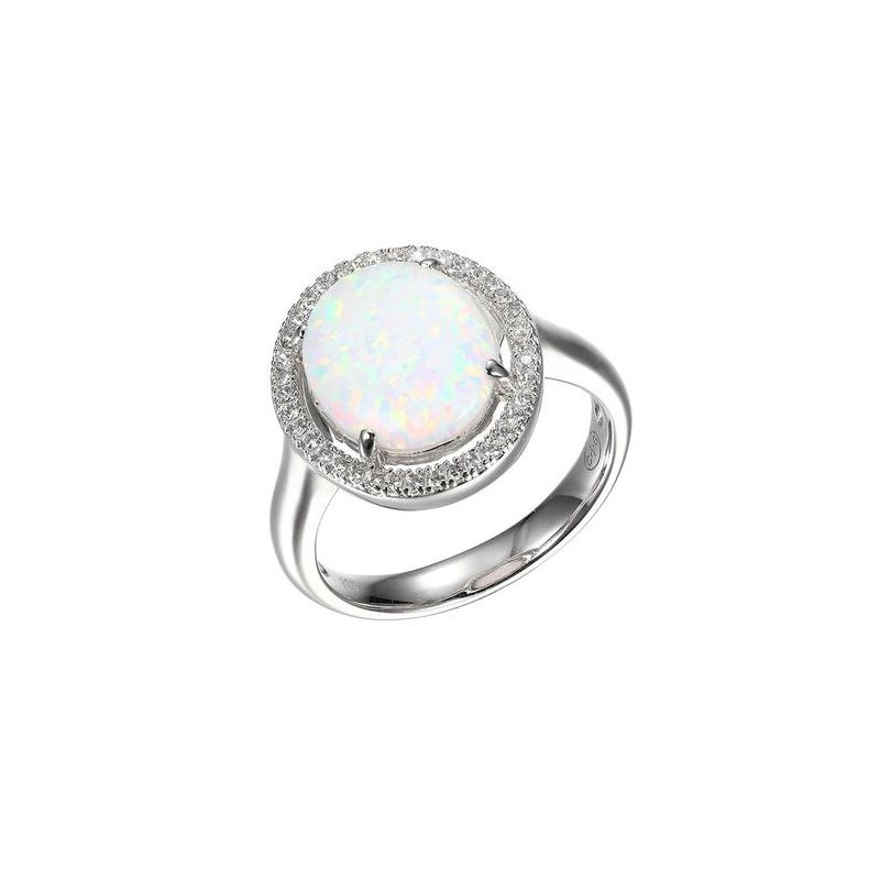 Corinth Collections  Sterling Silver Synthetic Oval Opal with CZ Halo and Polished Shank