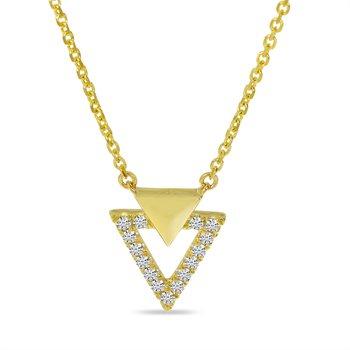 14 Karat Yellow Gold Double Triangle Diamond Necklace