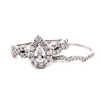 14 Karat White Gold Pear Cut Center with Diamond Halo and Infinity Diamond Shank Engagement Ring with Matching Curved Diamond Band