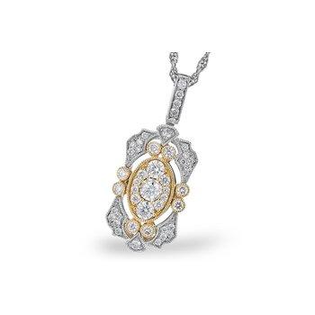 14 Karat White and Yellow Gold Art-Deco Style Diamond Fashion Necklace