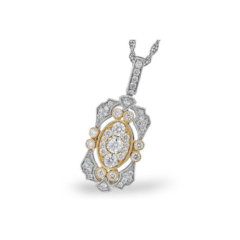 Allison-Kaufman 14 Karat White and Yellow Gold Art-Deco Style Diamond Fashion Necklace