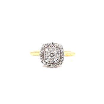 10 Karat Yellow Gold Round Center with Double Diamond Cushion Halo Fashion Ring