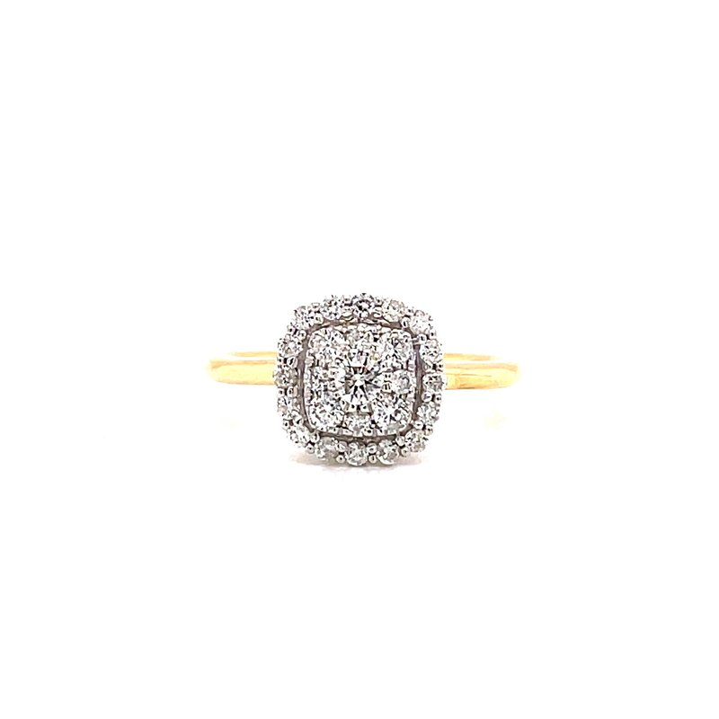 Corinth Collections  10 Karat Yellow Gold Round Center with Double Diamond Cushion Halo Fashion Ring