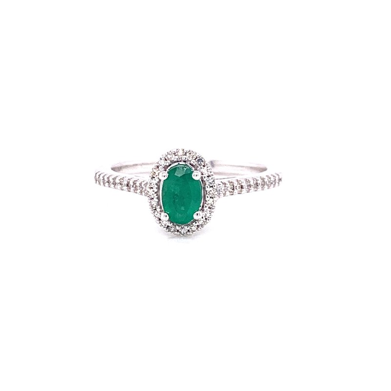 Corinth Collections  10K White Gold Oval Emerald with Diamond Halo