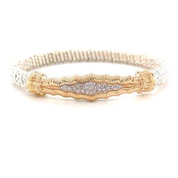 14 Karat Yellow Gold and Sterling Silver Vintage Diamond Tapered Bangle Bracelet