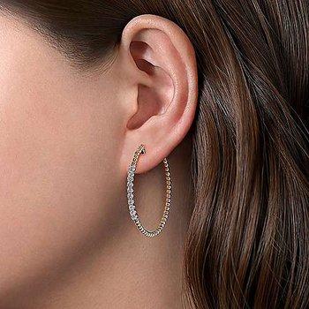 14 Karat Yellow Gold Bujukan Diamond Hoop Earrings