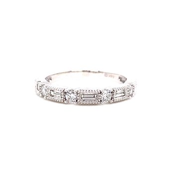 14 Karat White Gold Round and Baguette Diamond Stacker Band