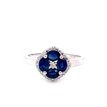 14 Karat White Gold Multi Oval Sapphire and Diamond Fashion Ring