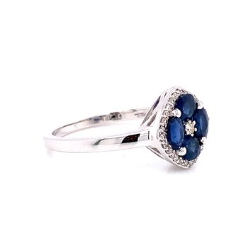 14 Karat White Gold Multi Oval Sapphire and Diamond Fashion Ring