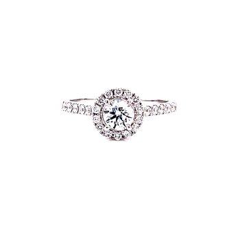 14 Karat White Gold Round Cut Center with Diamond Halo Engagement Ring