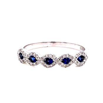 14 Karat White Gold Sapphire and Diamond Infinity Stacker Band