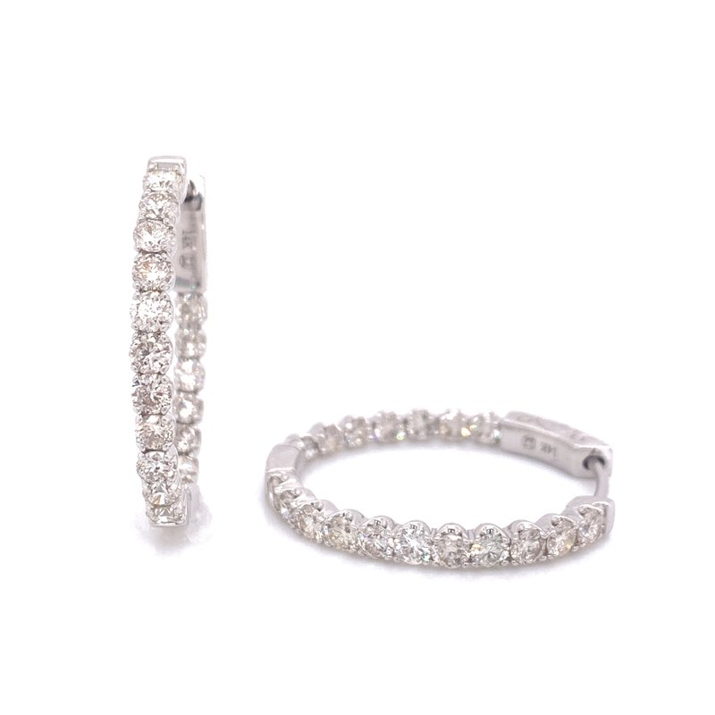 Corinth Collections  14K White Gold Inside Out Diamond Hoop Earrings