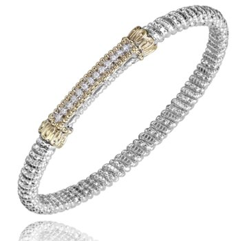 14 Karat Yellow Gold and Sterling Silver Petite Diamond Bar Vahan Bracelet with Yellow Gold Beaded Accents