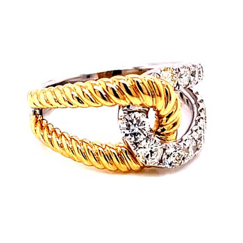 14 Karat Yellow and White Gold Round Diamond with Twisted Gold Rope Accent Criss Cross Band
