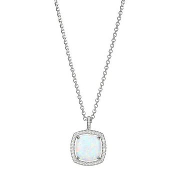 Sterling Silver Synthetic Cushion Cut Opal with CZ Halo Necklace