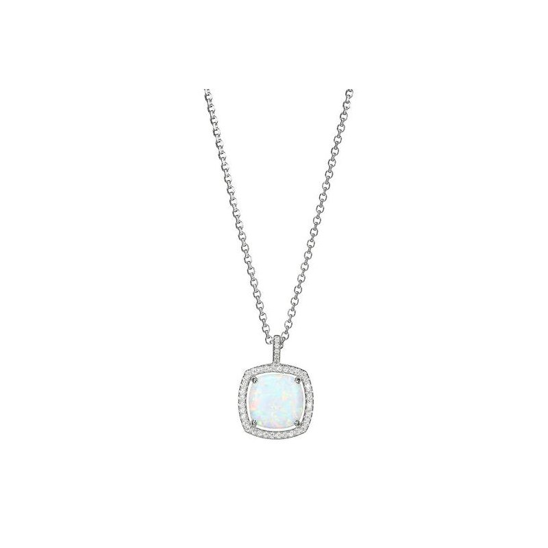 Corinth Collections  Sterling Silver Synthetic Cushion Cut Opal with CZ Halo Necklace