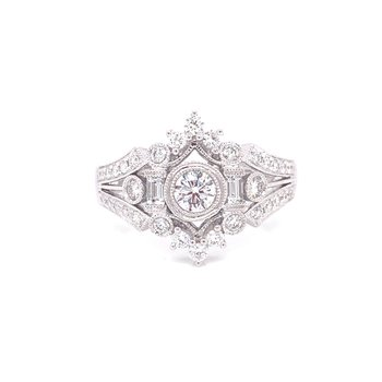 14K White Gold Vintage Round and Baguette Diamond Fashion Ring