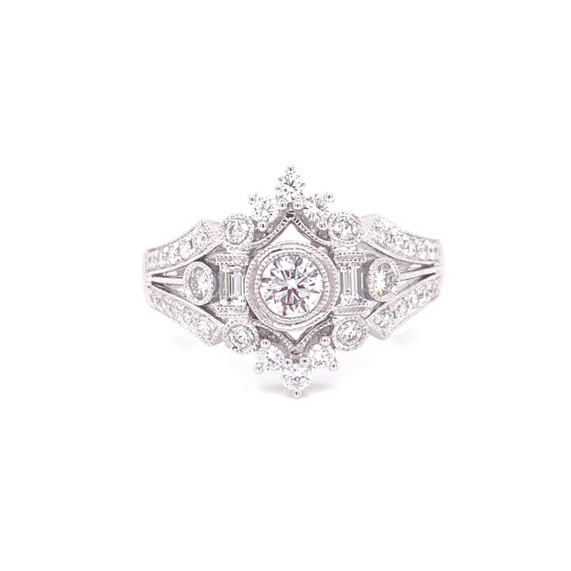 Corinth Collections  14K White Gold Vintage Round and Baguette Diamond Fashion Ring