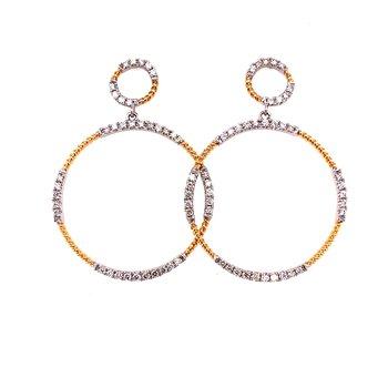 14 Karat White and Yellow Gold Double Diamond Circle Drop Hoop Earrings