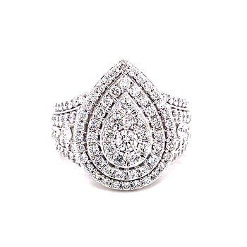 14 Karat White Gold Pear Cut Round Diamond Cluster Engagement Ring with Double Diamond Halo