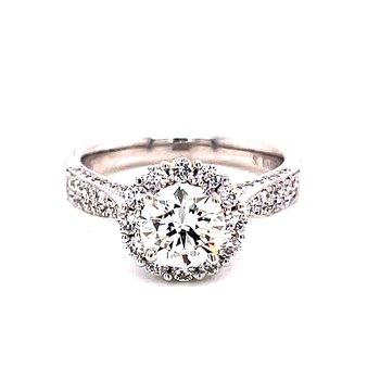 14 Karat White Gold Round Cut Center Stone with Round Diamond Halo and Hidden Halo Engagement Ring