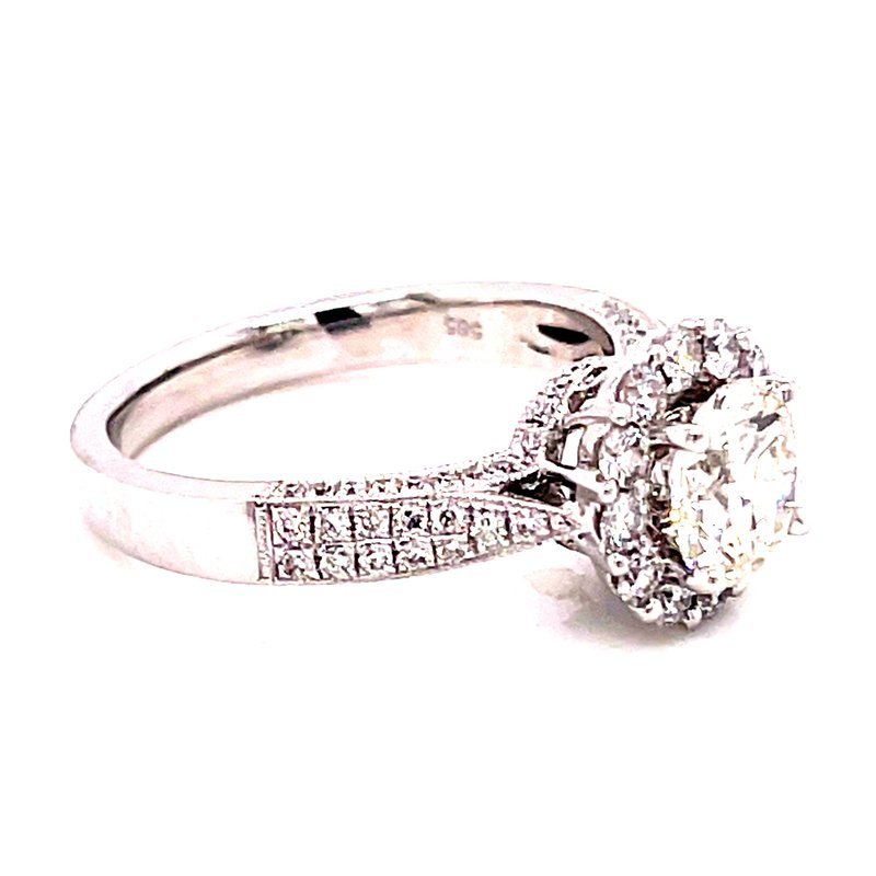 Corinth Collections  14 Karat White Gold Round Cut Center Stone with Round Diamond Halo and Hidden Halo Engagement Ring