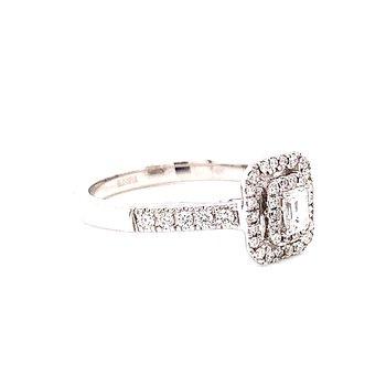 14 Karat White Gold Emerald Cut Diamond with Double Diamond Halo Engagement Ring