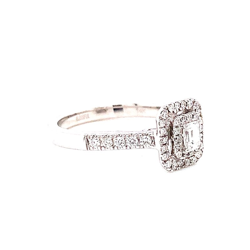 Corinth Collections  14 Karat White Gold Emerald Cut Diamond with Double Diamond Halo Engagement Ring