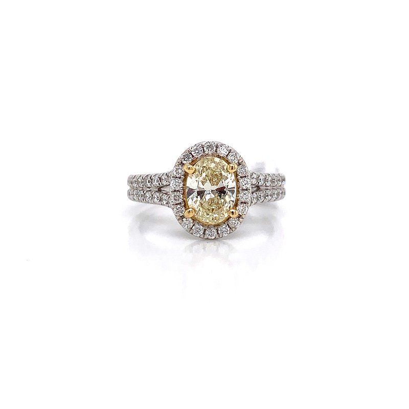 Corinth Collections  14K White Gold Yellow Diamond Ring