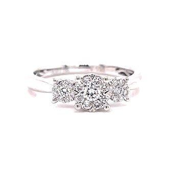 14 Karat White Gold 3-Stone Round Illusion Center with Polished Shank Engagement Ring
