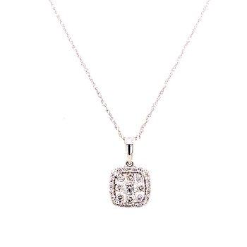 14 Karat White Gold Round Diamond with Cushion Diamond Halo Cluster Pendant Necklace