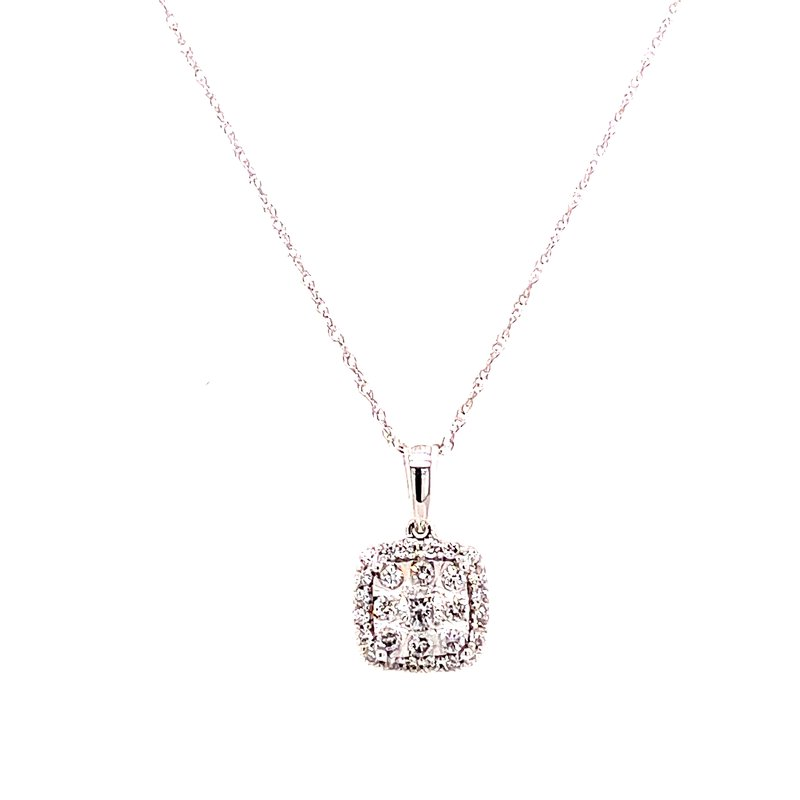 Corinth Collections  14 Karat White Gold Round Diamond with Cushion Diamond Halo Cluster Pendant Necklace