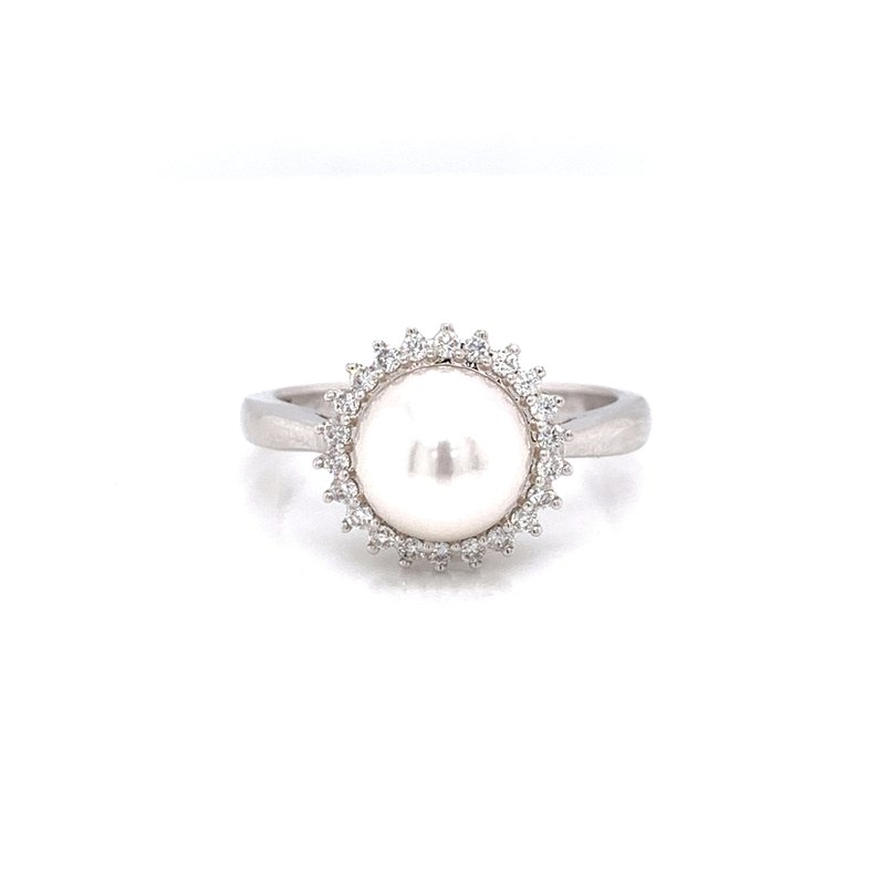 Corinth Collections  14K White Gold Pearl with Diamond Halo