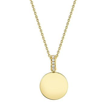 14 Karat Yellow Gold Petite Polished Circle with Diamond Accent Necklace