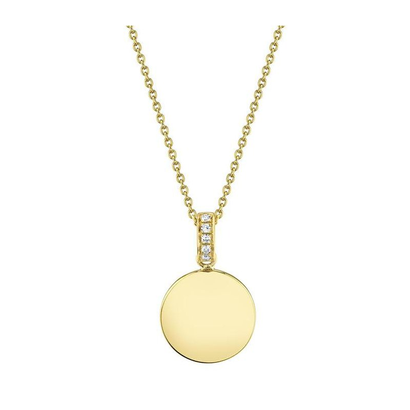 Shah Luxe 14 Karat Yellow Gold Petite Polished Circle with Diamond Accent Necklace