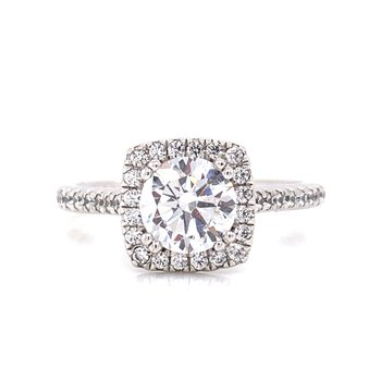 14K White Gold Round with Cushion Halo and Diamond Shank