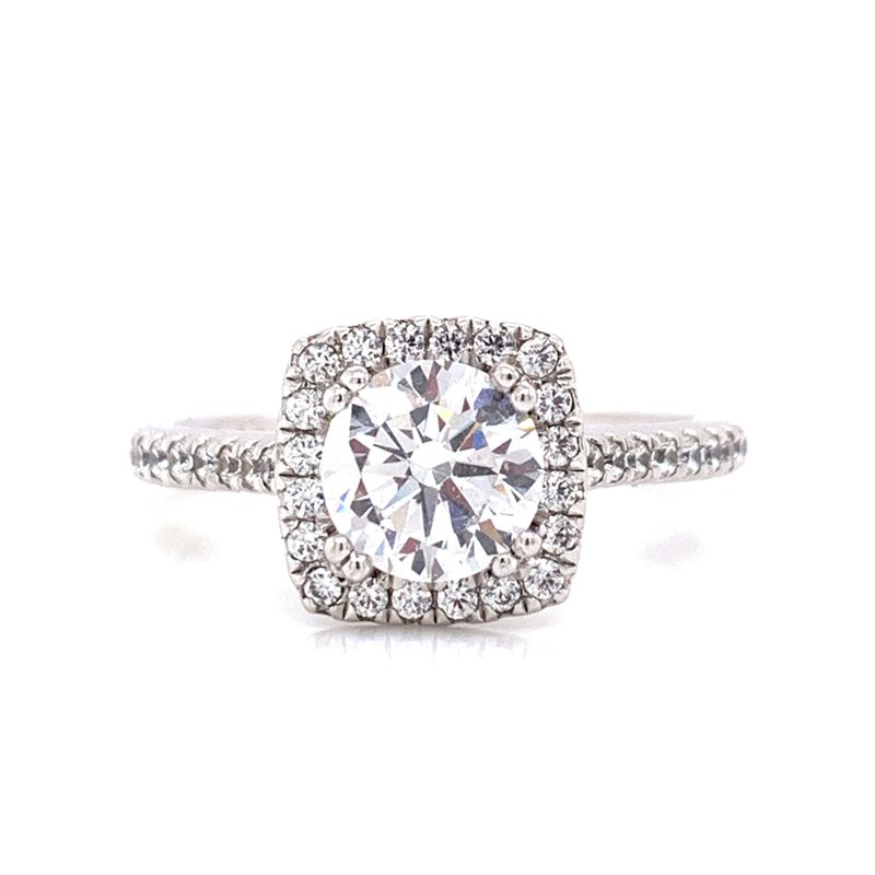 Corinth Collections  14K White Gold Round with Cushion Halo and Diamond Shank