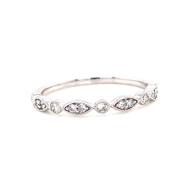 Corinth Collections  14 Karat White Gold Round and Marquis Diamond Stacker Band