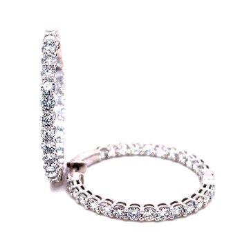 14 Karat White Gold Inside Out 5.0 cttw Diamond Hoop Earrings