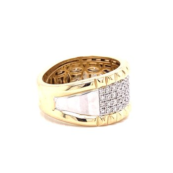 14 Karat Yellow and White Gold Pave Set Wide Diamond Band