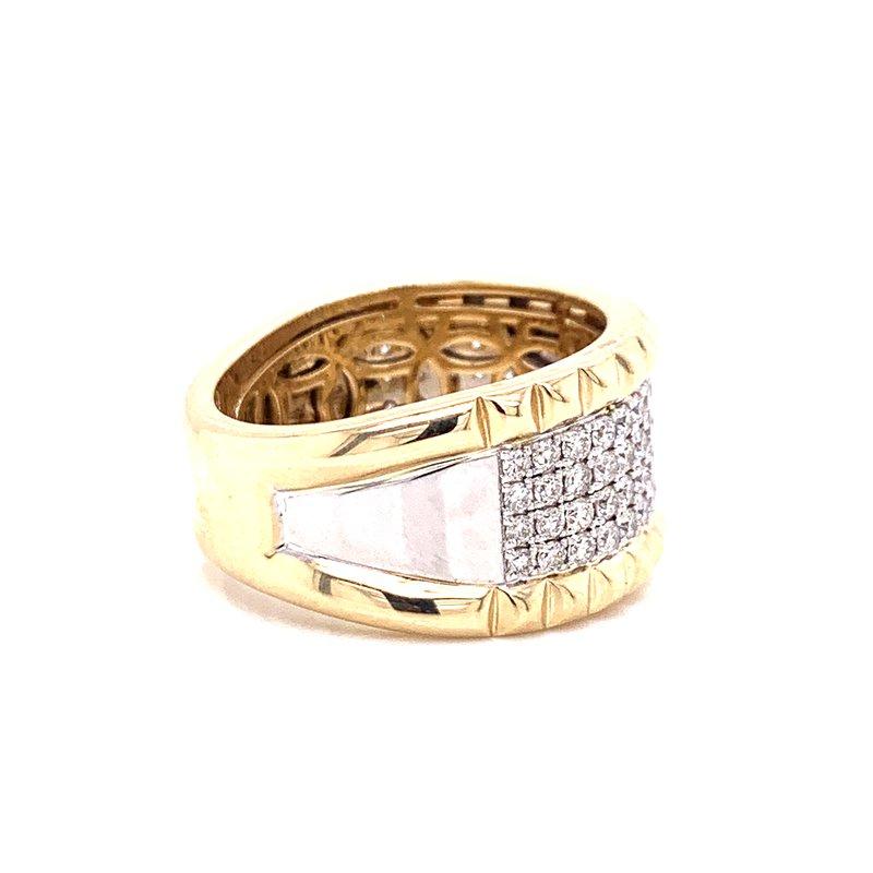 14 Karat Yellow and White Gold Pave Set Wide Diamond Band