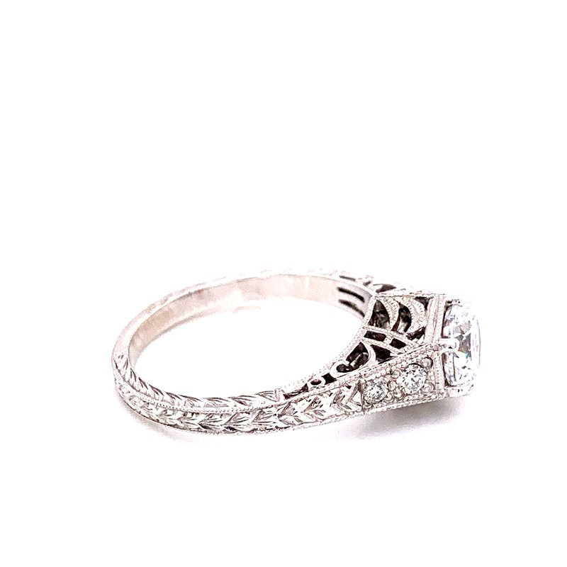 Corinth Collections  14 Karat White Gold Round Vintage Semi Mount with Tapered Filigree and Diamond Shank