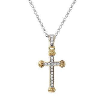Sterling Silver and Gold Plated Cross Necklace