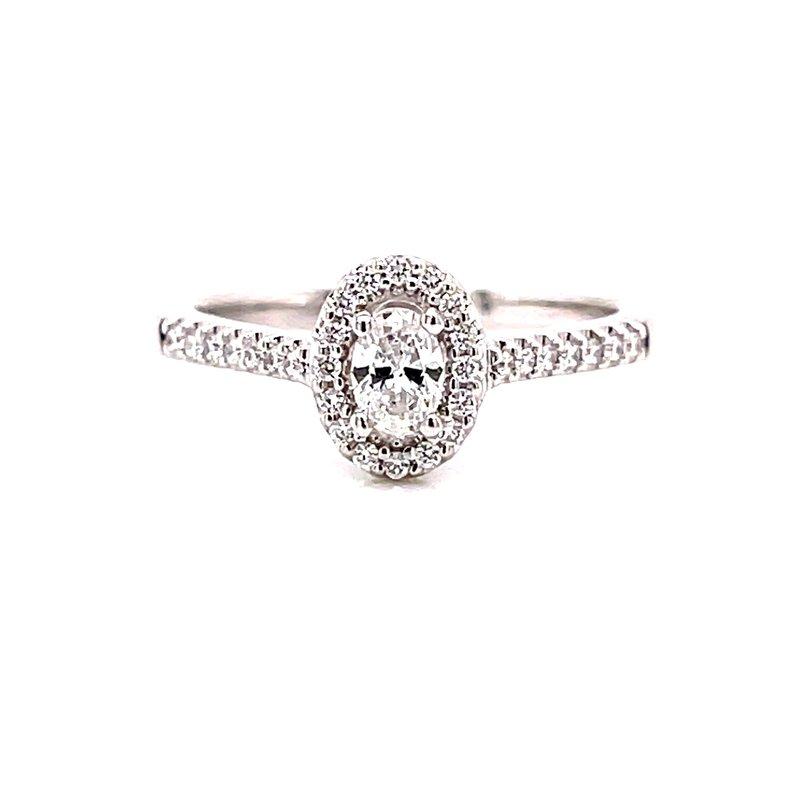 Ashi Diamonds 14 Karat White Gold Oval Center with Diamond Halo Engagement Ring