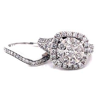 14 Karat White Gold Round Cluster with Cushion Diamond Halo Engagement Ring with Matching Diamond Band