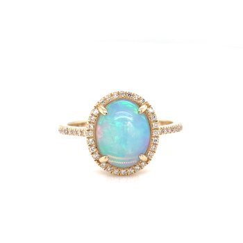 14K Yellow Gold Opal with Diamond Halo